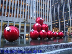 GIant baubels outside 1251 Avenue of the Americas